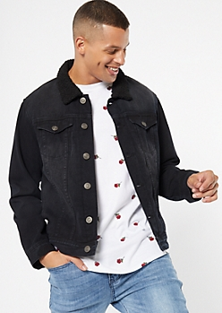 Black Sherpa Button Down Jean Jacket