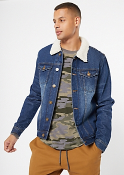 Medium Wash Sherpa Button Down Jean Jacket