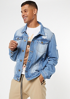 Light Wash Sandblasted Ripped Jean Jacket