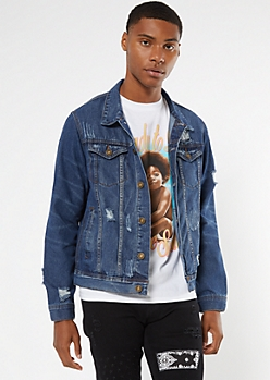 Dark Wash Ripped Trucker Jean Jacket