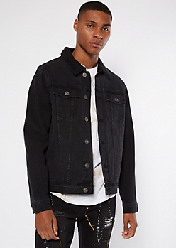Black Sherpa Collar Jean Jacket