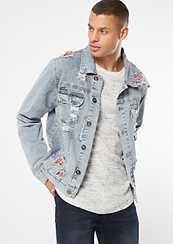 Light Stone Wash Bandana Patched Jean Jacket