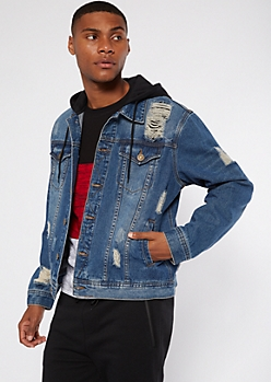 Medium Wash Ripped Hoodie Jean Jacket