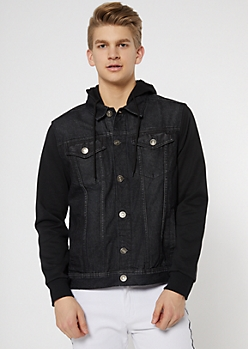 Black Fleece Sleeve Jean Jacket