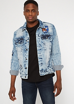 Medium Wash Destructed Tiger Embroidered Jean Jacket