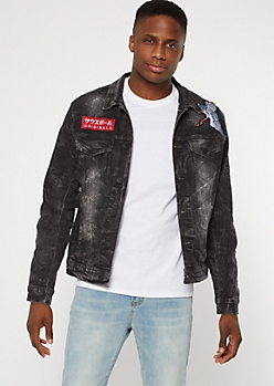 Black Destructed Nature Embroidered Jean Jacket