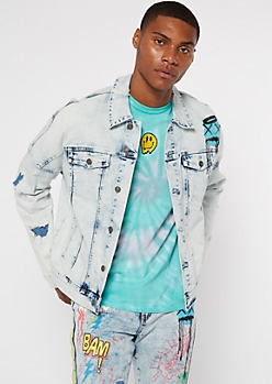 Light Wash Graffiti Print Jean Jacket