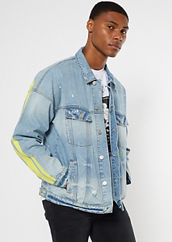 Light Wash Side Striped Jean Jacket