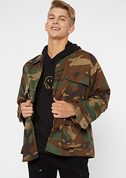 Camo Print Button Up Cargo Jacket