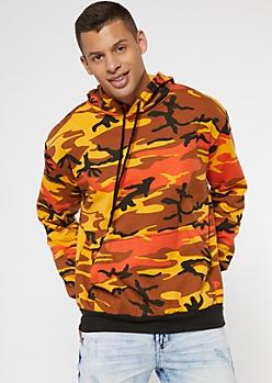 Rothco Orange Camo Print Hoodie