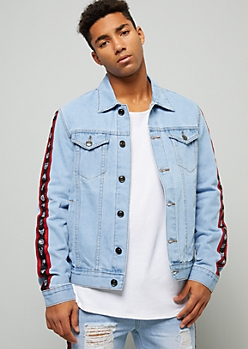 NBA Team Light Wash Striped Denim Jacket
