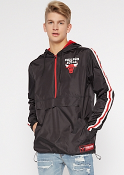 NBA Chicago Bulls Black Half Zip Windbreaker