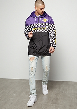 NBA Los Angeles Lakers Purple Checkered Print Graphic Windbreaker