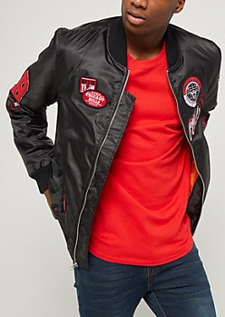 Black Chicago Bulls Patched Bomber Jacket