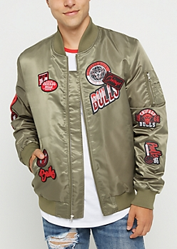 Chicago Bulls Patched Bomber Jacket
