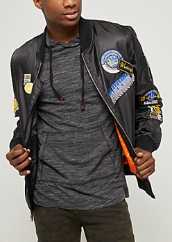 Black Golden State Warriors Patched Bomber Jacket