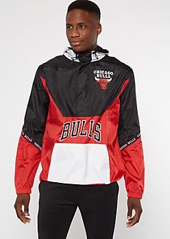 NBA Chicago Bulls Colorblock Half Zip Windbreaker