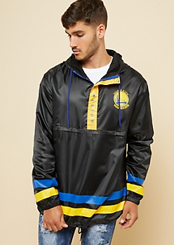 Golden State Warriors Black Athletic Stripe Windbreaker
