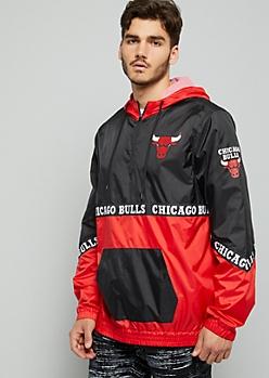 NBA Chicago Bulls Black Zip Front Hooded Windbreaker