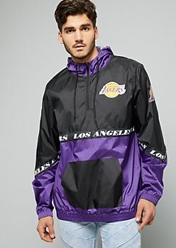 NBA Los Angeles Lakers Black Zip Front Hooded Windbreaker