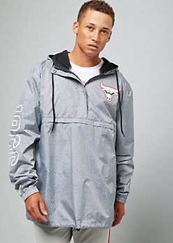 NBA Chicago Bulls Gray Speckled Half Zip Windbreaker
