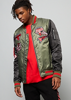 NBA Chicago Bulls Olive Striped Bomber Jacket