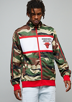 NBA Chicago Bulls Camo Print Side Striped Track Jacket