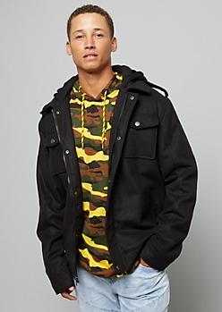 Black Wool Blend Sherpa Hooded Jacket