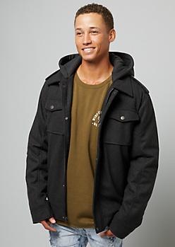 Gray Wool Blend Sherpa Hooded Jacket