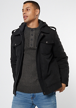 Gray Wool Chest Pocket Hooded Jacket