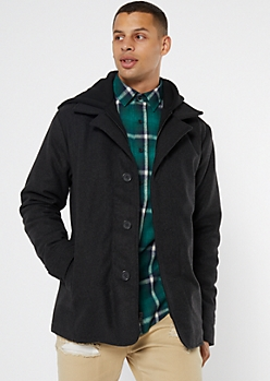 Gray Wool Hooded Peacoat
