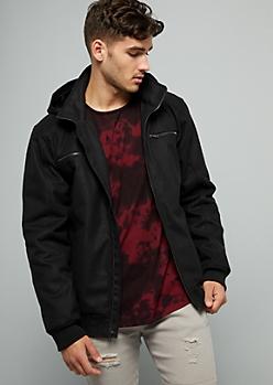 Black Wool Blend Zip Front Hooded Jacket