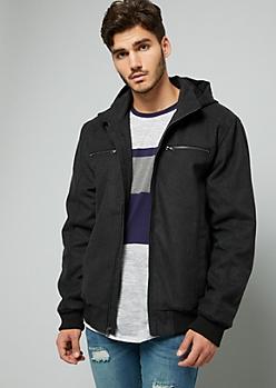 Gray Wool Blend Zip Front Hooded Jacket
