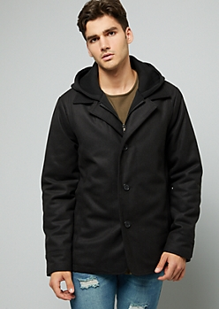 Black Wool Blend Button Down Hooded Jacket
