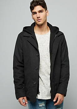 Gray Wool Blend Button Down Hooded Jacket
