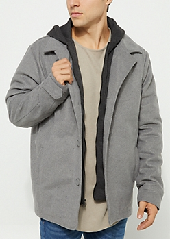 Heather Gray Hooded Button Down Coat