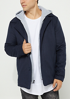 Navy Blue Hooded Button Up Coat