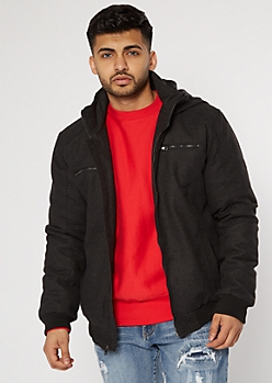 Charcoal Gray Wool Hooded Bomber Jacket