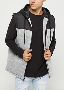 Gray Quilted Colorblock Hooded Vest