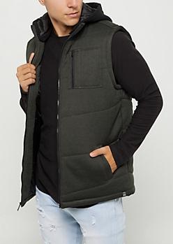 Green Marled Knit Hooded Puffer Vest