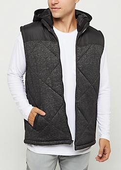 Black Marled Knit Hooded Puffer Vest