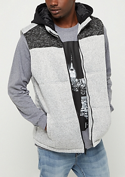 Gray Marled Colorblock Hooded Vest