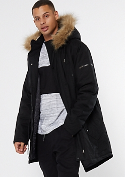 Black Faux Fur Hooded Long Puffer Jacket