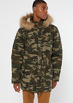 Camo Print Faux Fur Hooded Long Puffer Jacket