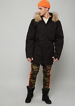 Black Twill Faux Fur Trim Hooded Anorak Jacket