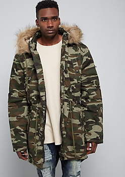 Camo Print Twill Faux Fur Trim Hooded Anorak Jacket