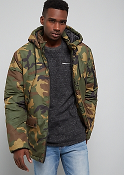 Camo Print Quilted Hooded Puffer Jacket