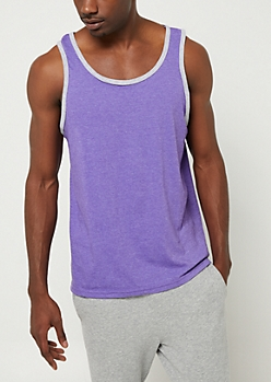 Purple Contrast Trim Tank Top