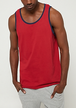 Red Contrast Trim Tank Top