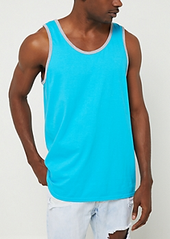 Teal Contrast Trim Tank Top